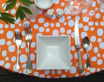 Modern, Orange Polka Dot Linen Cloth Tablecloth, Choice of Size, Choice of Color, Nadine Westcott, Wedding Tablecloths, Baby Shower
