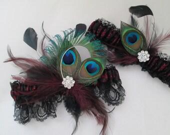 Marsala WEDDING Garter Set, Black Lace Garters, PEACOCK Garters, Wine Red, Cranberry Garter, Burgundy Steampunk / Gothic Weddings