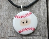 Hand Painted Baseball Ninja Necklace