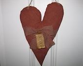Primitive Heart Hanging - Valentine's Day -  Fabric - Wedding - Anniversary - Door Greeter