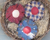 Primitive Americana Flowers - Bowl Fillers - Patriotic  Fabric Grungy - Set of 3 - July 4th - Country Home Decor - Spring/Summer Decor