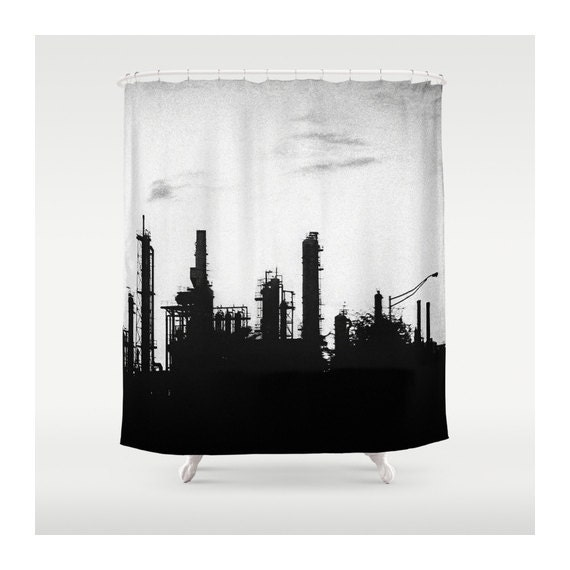 Black White Industrial Shower Curtain By Vqstudio On Etsy