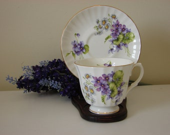 Vintage Collectible China Cup and Saucer with Lilacs and Daisies.  Duchess Cup and Saucer.  Collectible.