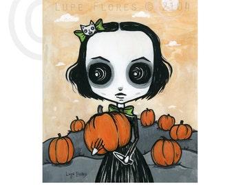 Scarlet at the pumpkin patch 8x10 Halloween ART PRINT