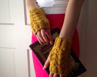 Organic Cotton Honey Fingerless Gloves