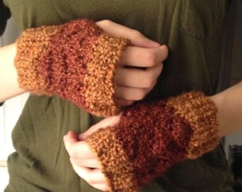 Brown Two Tone Fingerless Mittens - CLEARANCE!