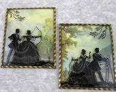 """2 Vintage Reverse Painted Silhouette Pictures with Convex Bubble Glass 4"""" x 5"""""""