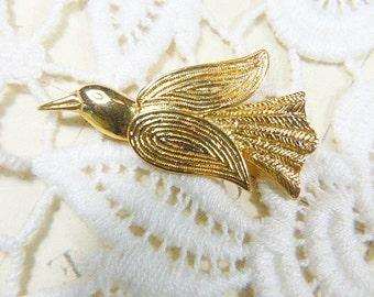 Vintage Gold Bird Brooch - BR-009