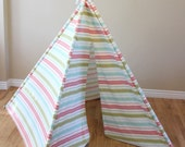 Pink, Green, Teal, Robin Egg, Cream, Striped, Stripe, Play Teepee, Tee Pee, Tent, Wigwam, (poles included) Ready to Ship