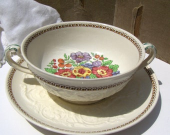 Vintage Cream Soup Windermere by Wedgwood Patrician Bowl & Underplate - #3744