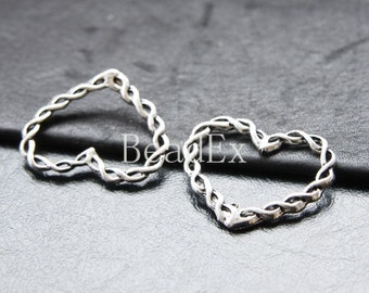 10pcs / Heart / Oxidized Silver Tone / Base Metal / Charm (YA22433//O181)