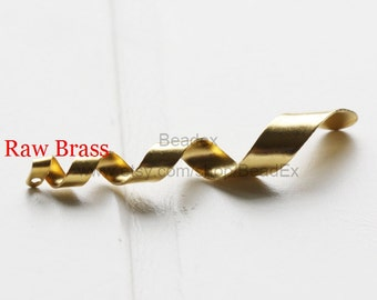 20 Pieces / Raw Brass / Twisted Metal / Waved / Pendant / Charm / Earring 39*6mm (C1826//P369)
