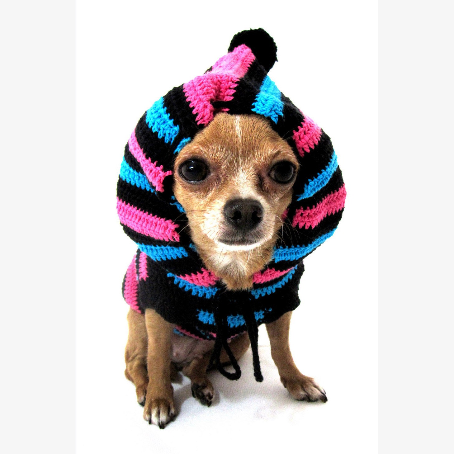 Funny Cute Dog Hoodie Sweater Crochet Knit Black Blue by
