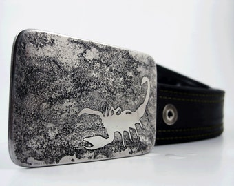 Scorpion Belt Buckle - Etched Stainless Steel - Handmade