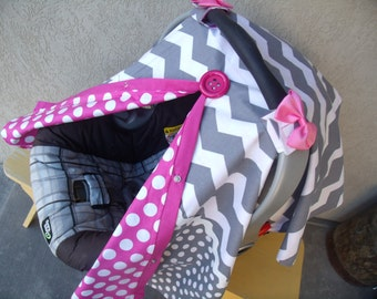 Carseat Canopy Chevron Lots Dots