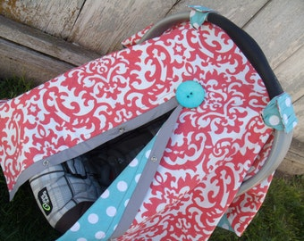 Carseat Canopy Coral with Aqua Dot carseat cover REVERSIBLE