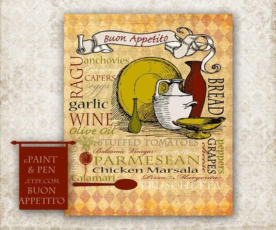 Tuscan Kitchen Art: Tuscan Kitchen Decor Tuscan Wall Art Italian By PAINTandPEN