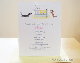 Dachshunds with Crib Baby Shower Invitations or Birth Announcements - Choose Your Color (Set of 10)