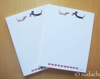 Dachshund Bride and Groom Notepads for Wedding. Engagement. Bridal Shower - Personalized Notepads (set of 2)
