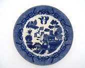 Vintage Antique Dinner Plate Blue Willow Japan Asian Blue and White Old Display Cottage Chic Farmhouse Decor