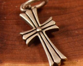 Vintage Sterling Cross Religious Pendant on Black Satin Cord