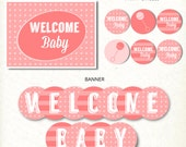 INSTANT DOWNLOAD Pink Rattle Modern Girl Baby Shower Party Printable Kit