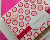 A Mod Hello in Bright Fuschia and Pale Pink with a button and some burlap - note cards