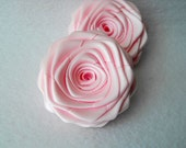 2 handmade roses ribbon flowers in pale pink light pink
