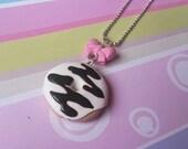 Donut Pendant Necklace ( donut necklace mini food jewelry food necklace cute necklace gift for her food jewellery doughnut necklace )