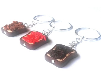 Best Friends Keyrings 3 Pieces ( Peanut Butter, Strawberry Jelly and Nutella Chocolate Toast with Silver Miniature Knifes