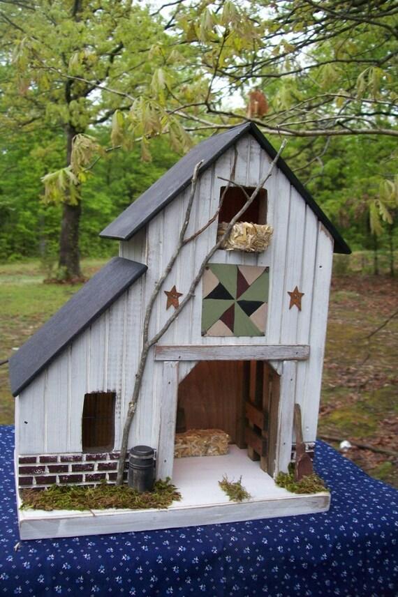 Barn primitive birdhouse rustic birdhouse lighted house for Primitive house plans