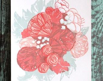 SALE! Flower Bouquet Illustration Screen print