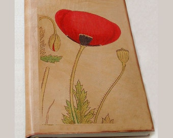 Red Poppy leather journal