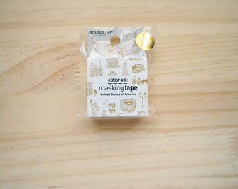 Round Top Masking tape, America, White, Gold, Die cut