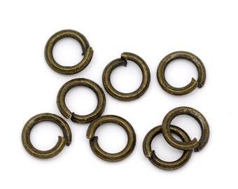 4mm Jump Rings : 100 Antique Brass Open Jump Rings 4mm x .7mm (21 Gauge) | 4mm Bronze Jump Rings -- Lead, Nickel, & Cadmium free 4x.7AB.100