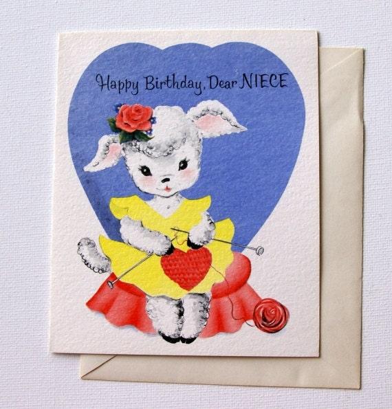 1950s Vintage Birthday Card For Niece Unused With Envelope