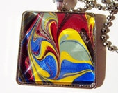 Maroon Red, Yellow, Green and Blue Painted Portable Art Necklace in an Antique Silver Finish - Art to Wear around Your Neck!