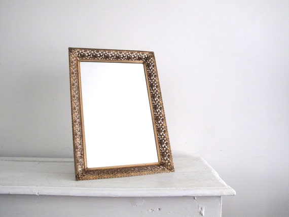 Gold Metal Wall Mirror: Gold Metal Mirror Tray Vanity Tray Gold By SnapshotVintage