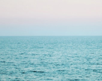 Ocean Photograph, Aqua Blue Pink Print, Ocean at Dusk, Calm Blue Ocean, Horizon Seascape 8x10