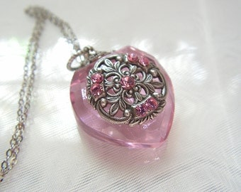 Vintage Inspired Pink Crystal  Heart Perfume Bottle Necklace