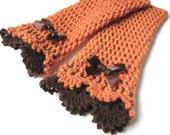 Brown Orange  Victorian lace mittens