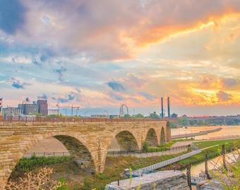 Stone Arch Bridge Sunrise Twin Cities Minneapolis Icon Photo Blue Orange