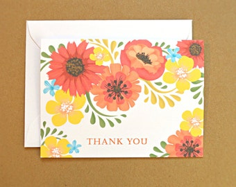 Thank You Cards / Wedding Thank You Cards, Orange and Yellow Vintage Flowers, 10-Count