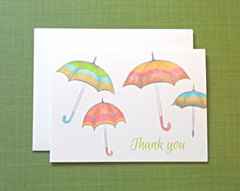 Baby Shower Thank You Cards, Umbrella Baby Shower Thank You Cards, 25-Count