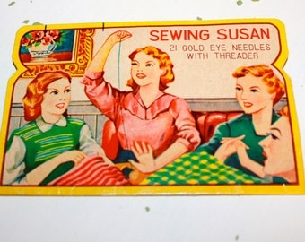 Vintage Sewing Susan 12 Gold Eye Threaders with Needle Notions 1950s