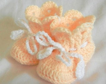 Baby Booties Peach Crochet 3 - 6 -9 Months