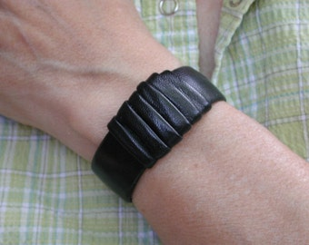 Women's  Handmade Black Leather Cuff
