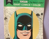 Vintage 1970's LARGE Batman and Robin Coloring Book, 1976, The Penguin Birds of a Feather, collectible book, Batman comic book, superhero