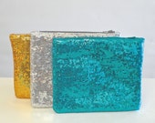 Large Sparkle & Shine Sequin Clutch | Aqua | Gold | Silver