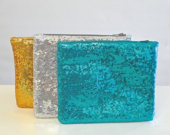 Large Sparkle & Shine Sequin Clutch | Gold | Silver